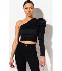 akira red carpet one shoulder puff sleeve blouse
