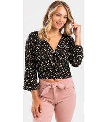 fane floral surplice blouse - black