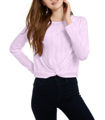 pink rose juniors' twisted waffle-knit top