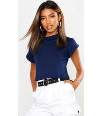 basic roll sleeve crop t-shirt, navy