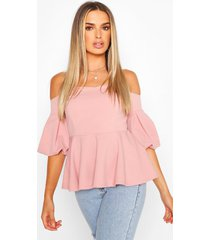 crepe off the shoulder peplum top, blush