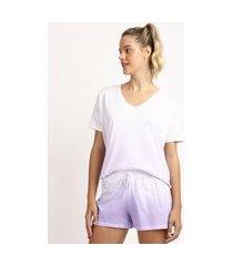 pijama feminino estampado tie dye manga curta lilás