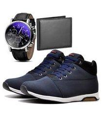 sapatênis urbano com carteira e relógio dubuy 1101db azul