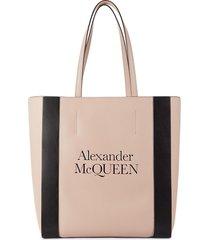 alexander mcqueen women's logo leather tote - powder pink