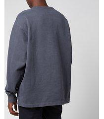 acne studios men's logo print sweatshirt - slate grey - xl