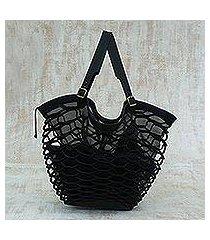 leather shoulder bag, 'black sambura' (13 inch) (brazil)