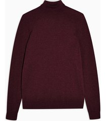 mens red burgundy marl turtle neck knitted sweater
