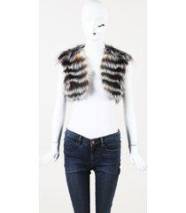 oscar de la renta fox fur cropped vest
