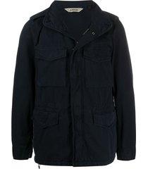 aspesi multi-pocket funnel-neck jacket - blue