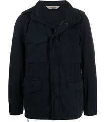 aspesi multi-pocket funnel-neck jacket - blue