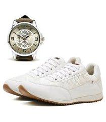 sapatênis casual com relógio new dubuy 1100la branco