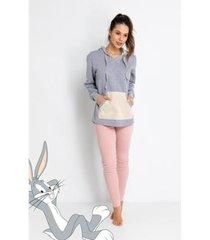 pijama longo ribana de algodão moletom - pernalonga acuo feminino