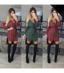 women plaid check high low slim fit long sleeve tartan collar button shirt dress