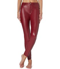 calzedonia thermal leather-effect pants woman red size xs