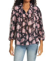 women's loveshackfancy gamela tie neck silk top, size x-small - black