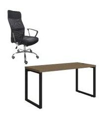 cj mesa escritório 1.50m kappesberg + cadeira presidente trevalla tl-cde-02-1b