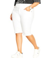 plus size women's city chic high waist denim shorts, size 18w - ivory