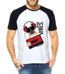 camiseta raglan criativa urbana good vibes dog retrô