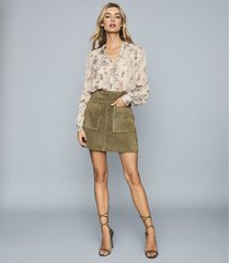 reiss elm - suede mini skirt in khaki, womens, size 12
