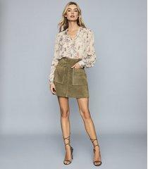 reiss elm - suede mini skirt in khaki, womens, size 12