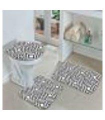 kit 3 tapetes decorativos para banheiro geometrico 40x60