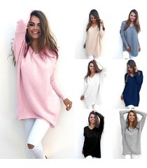 women's fashion autumn winter dress loose knitted oversized baggy sweater pink