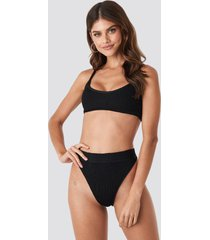 gerda x na-kd high waist smocked bikini bottom - black