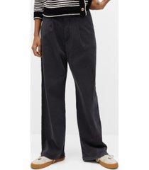 pleat detail cotton trousers