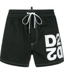 dsquared2 logo drawstring swim shorts - black