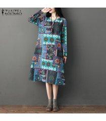 zanzea vestido de caftán midi de manga larga para mujer vestido floral estampado retro holgado suelto -azul