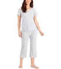 charter club cotton pointelle capri pajama pants set, created for macy's