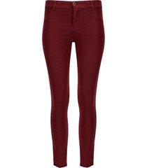 pantalón mujer dril desflecado vino color vino, talla 10