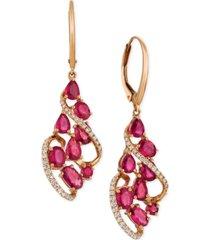 le vian certified passion ruby (3-1/3 ct. t.w.) & diamond (1/3 ct. t.w.) drop earrings in 14k rose gold