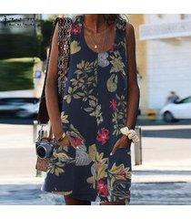 zanzea mini vestido sin mangas con cuello redondo y fiesta floral para vacaciones en la playa plus -azul