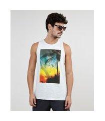 """regata masculina beach life"""" gola careca cinza mescla claro"""""""