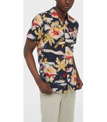 tommy hilfiger hawaiian print shirt s/s skjortor desert