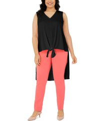 alfani plus size sleeveless tie-hem high-low top, created for macy's