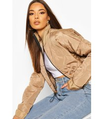 quilted detail bomber jacket, stone