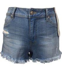 rewash juniors' curvy-fit frayed denim shorts
