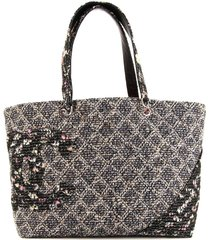 chanel pre-owned cambon line tweed tote bag - black