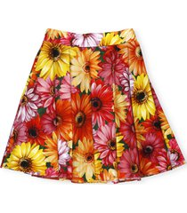 dolce & gabbana midi skirt with gerbere print