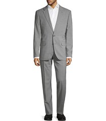 slim-fit check wool-blend suit
