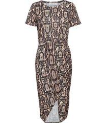 front wrap jersey dress knälång klänning beige ivyrevel