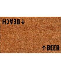 """beach beer 17"""" x 29"""" coir/vinyl doormat bedding"""