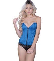 corselet yasmin lingerie tafetá cavado azul. - kanui