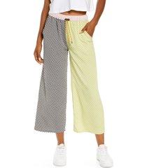women's kkco mixed checker lounge pants, size x-small - green