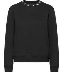 ck logo trim neck cn sweat-shirt trui zwart calvin klein jeans