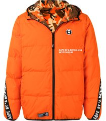 aape by *a bathing ape® reversible hooded padded jacket - orange
