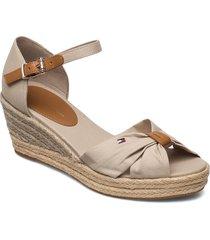 basic open toe mid wedge sandalette med klack espadrilles grå tommy hilfiger
