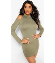 cold shoulder long sleeve bodycon mini dress, olive